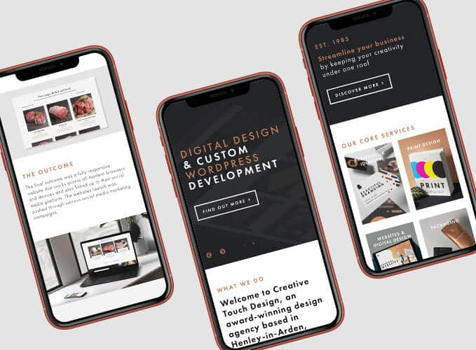 New website displayed on iphones