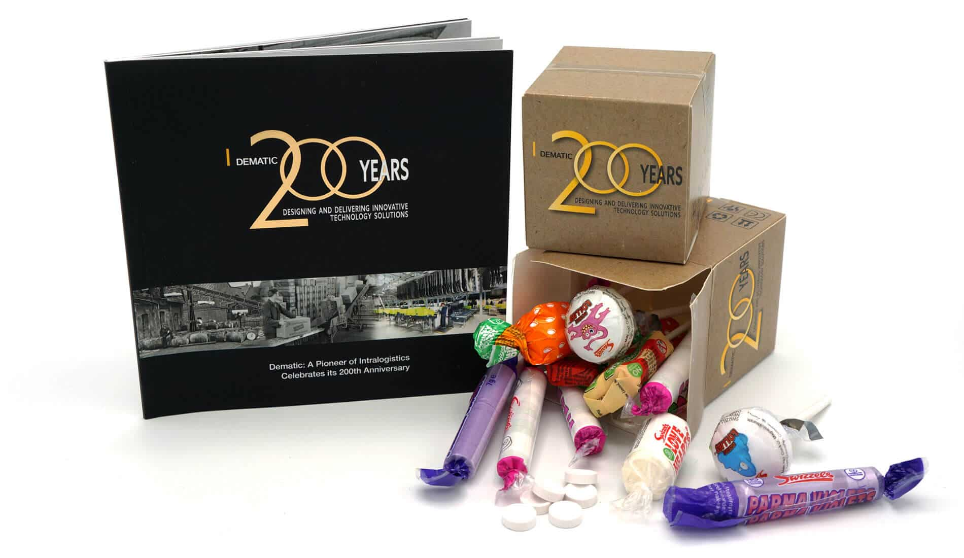 Packaging design and print design created for 200 years celebration at Dematic
