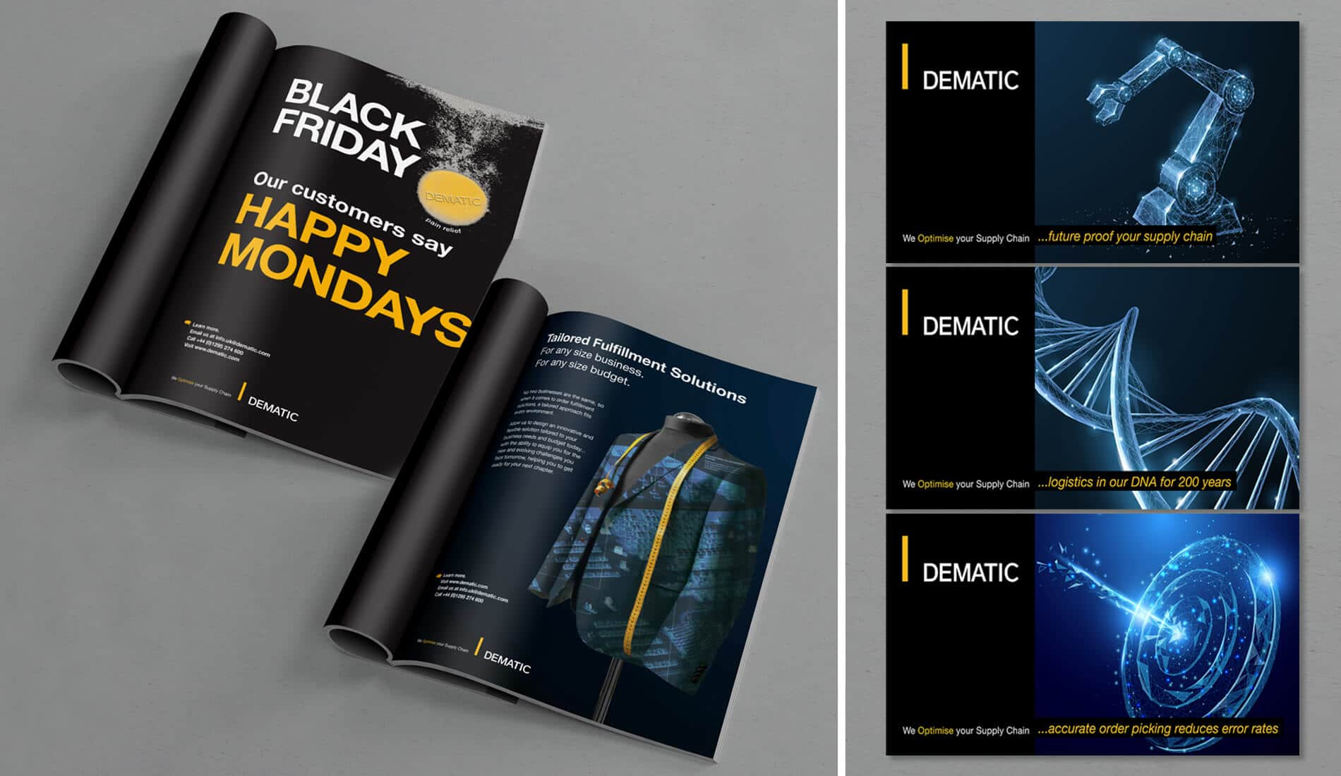 Advertising campaigned designed for dematic, digital online artwork and printed designs for magazines