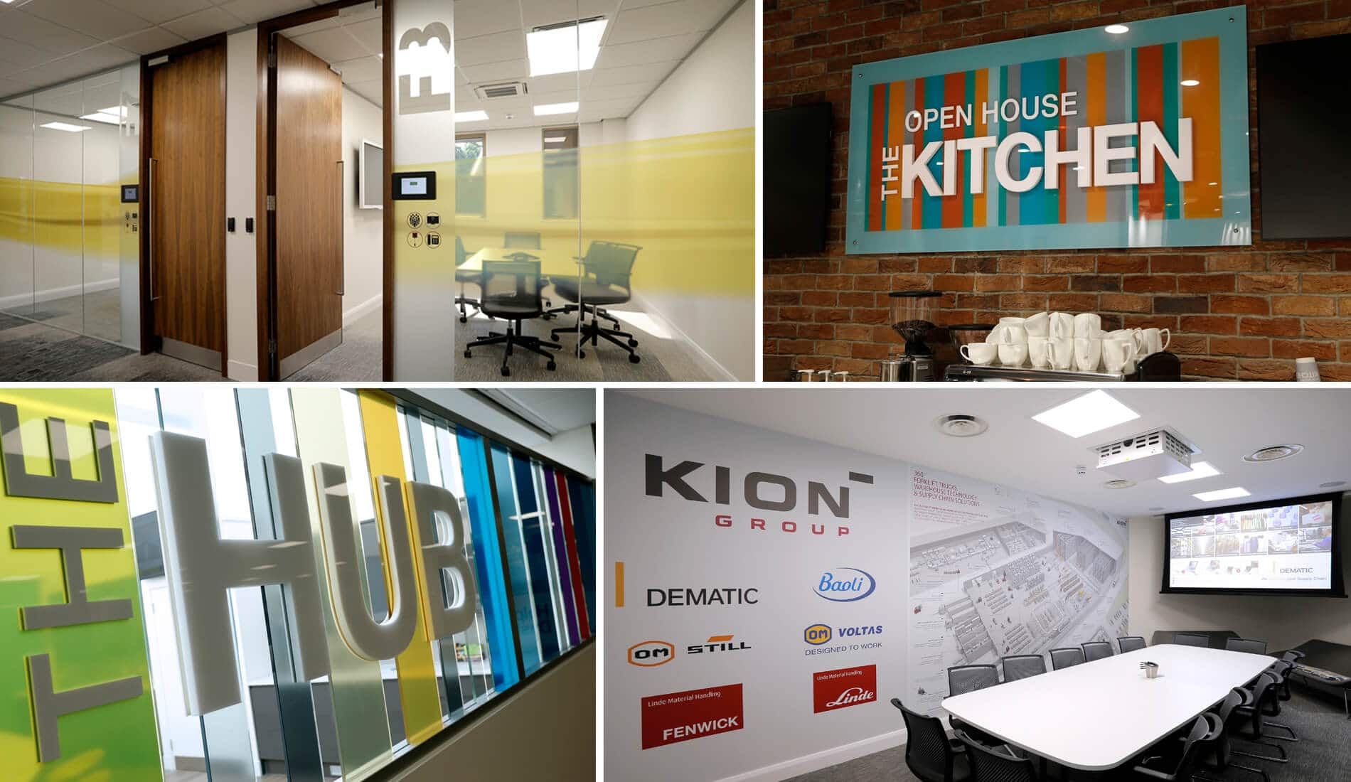 Signage designs that creative touch design created for dematics offices, colourful and eye catching