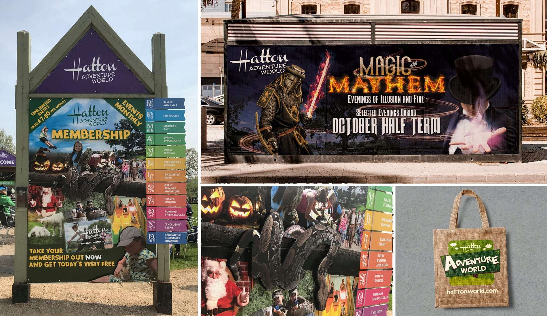 Signage created and designed for Hatton Adventure World colourful imagery and a tote bag
