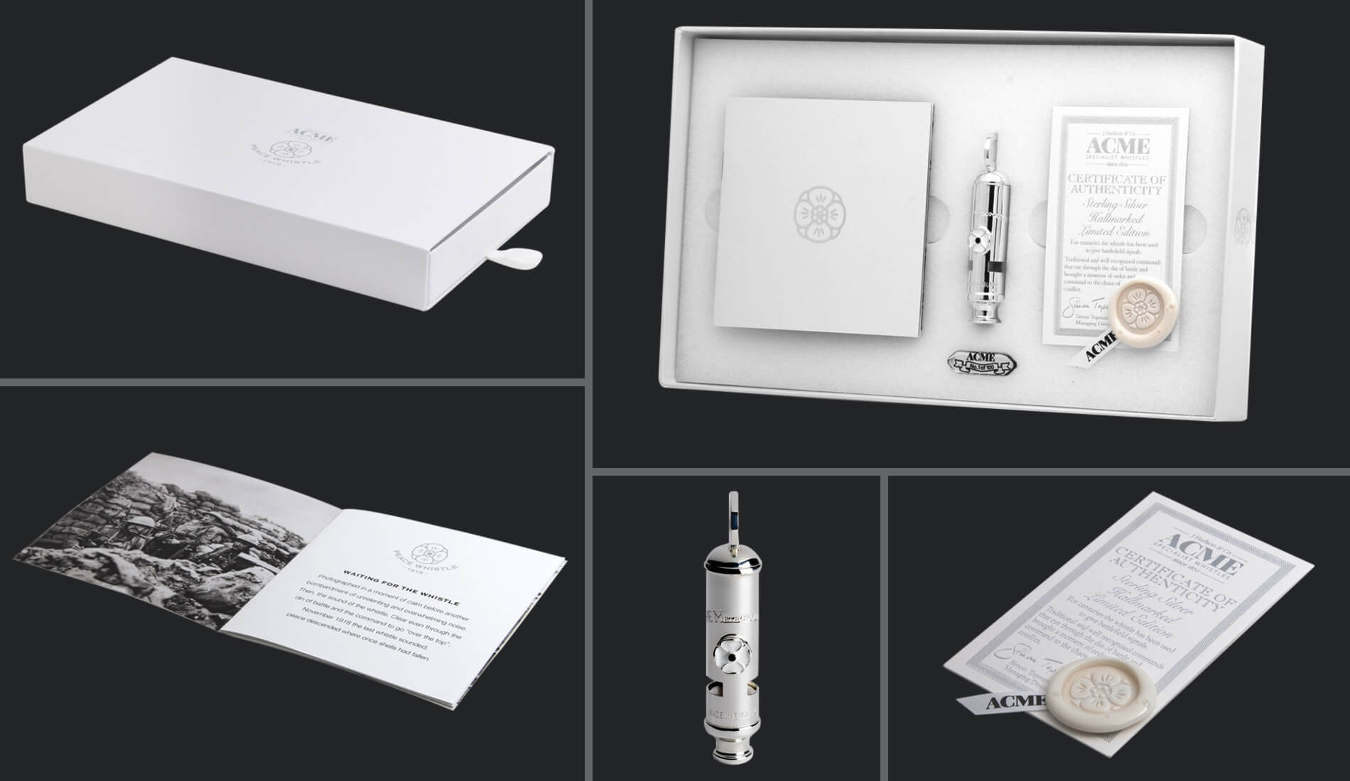 Packaging design for their limited edition world war one peace whistle, white packaging on a white background