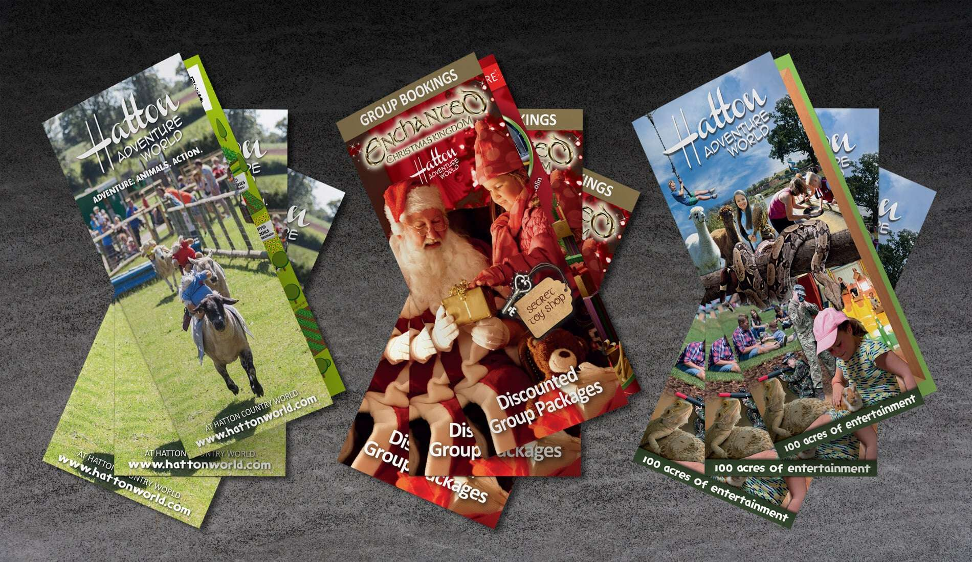 Hatton Adventure World leaflet designs