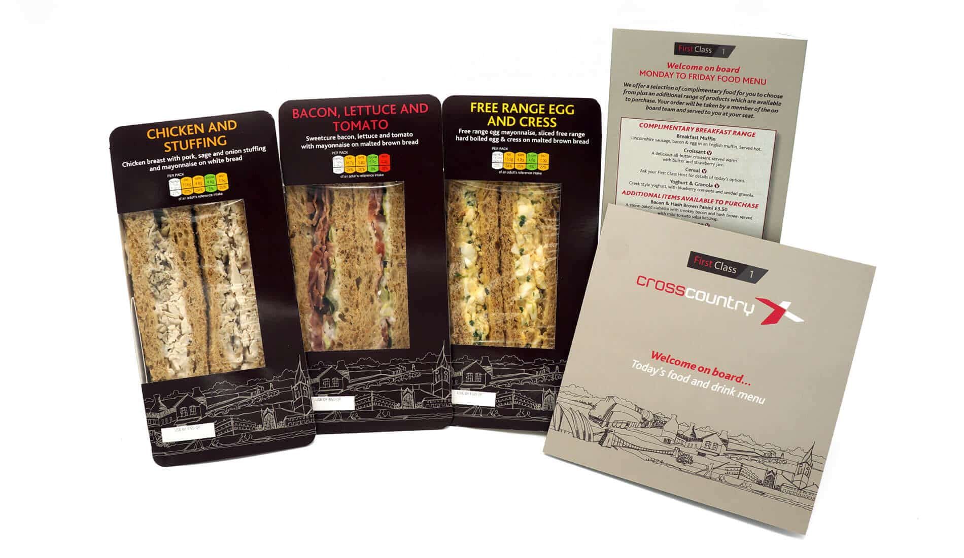 Packaging design for cross country trains including sandwiches and menus