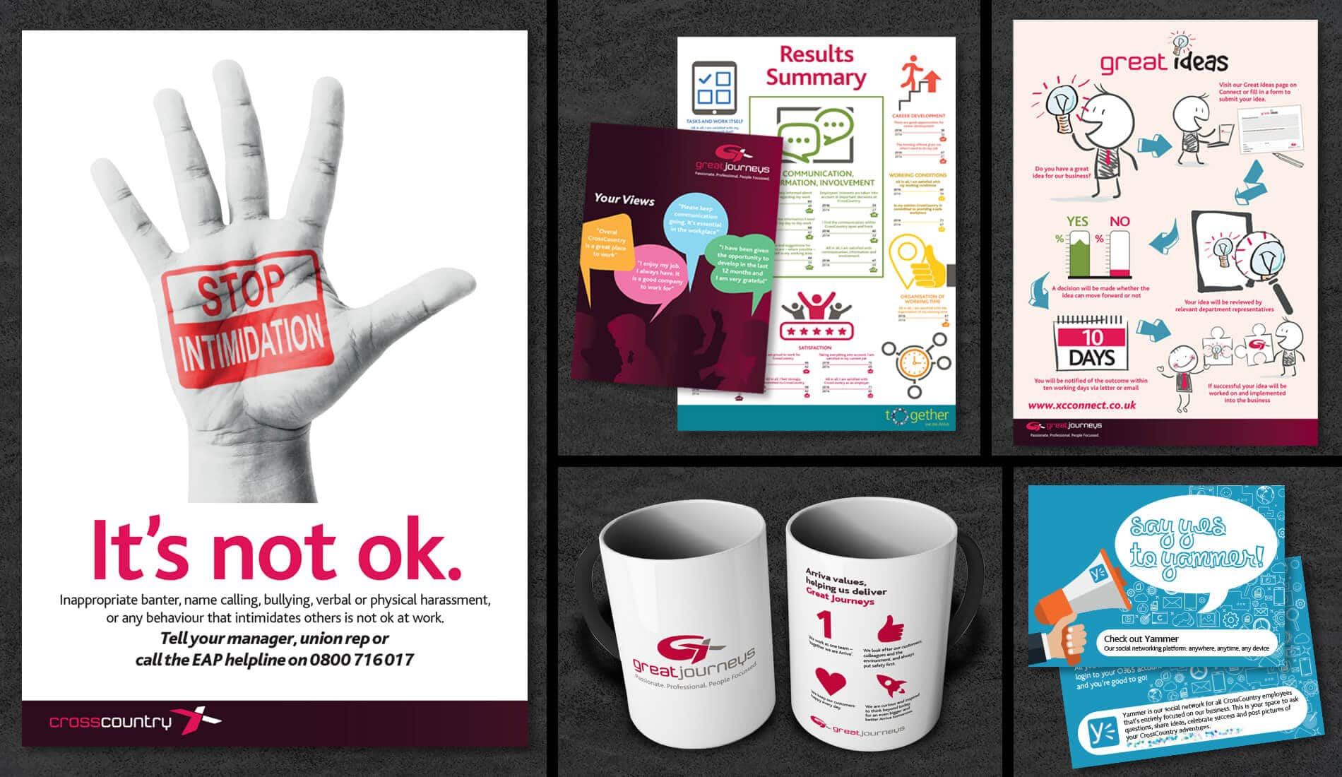 Cross Country poster campaigns, with mug and business cards