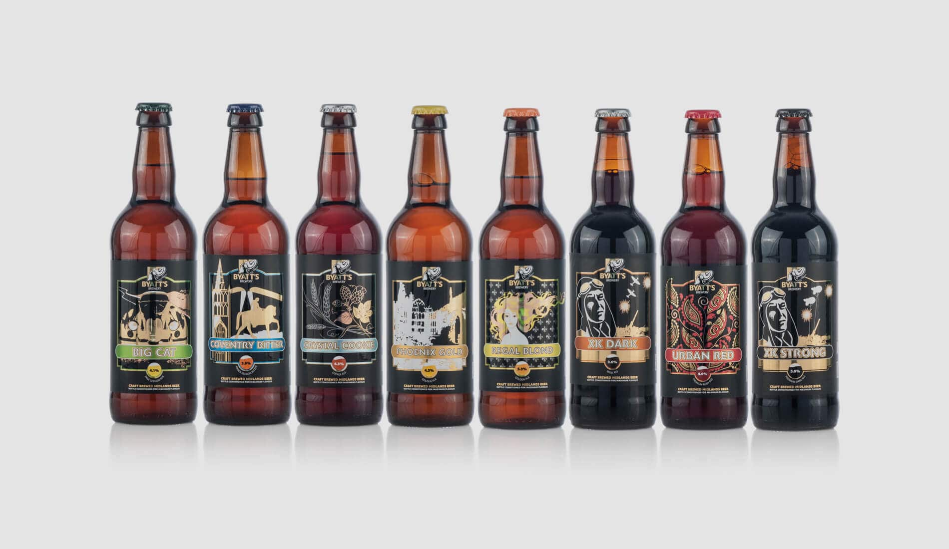 Byatt's Beer Labels on range of bottles