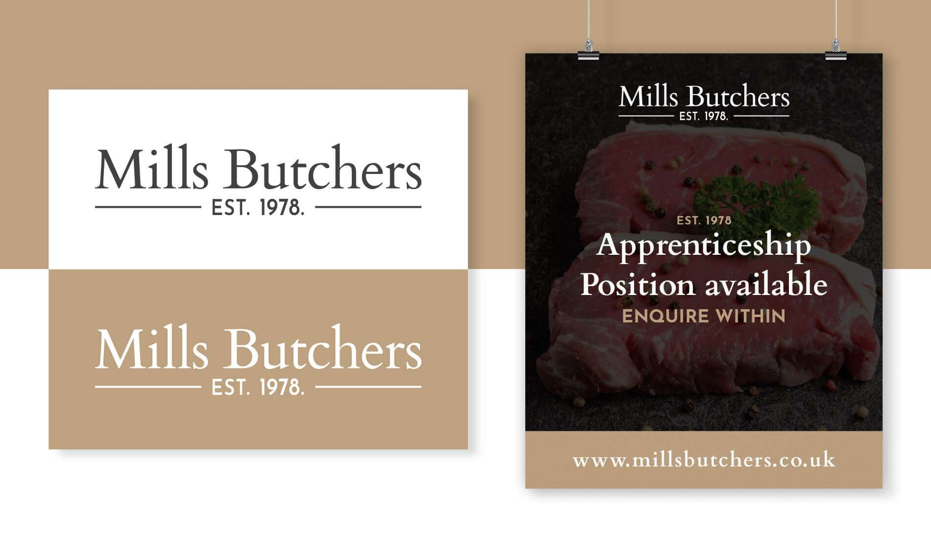 Mills Butchers logo and poster example