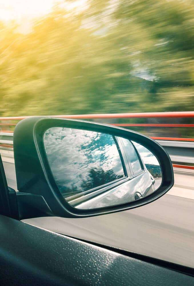 Wing mirror with blurred background