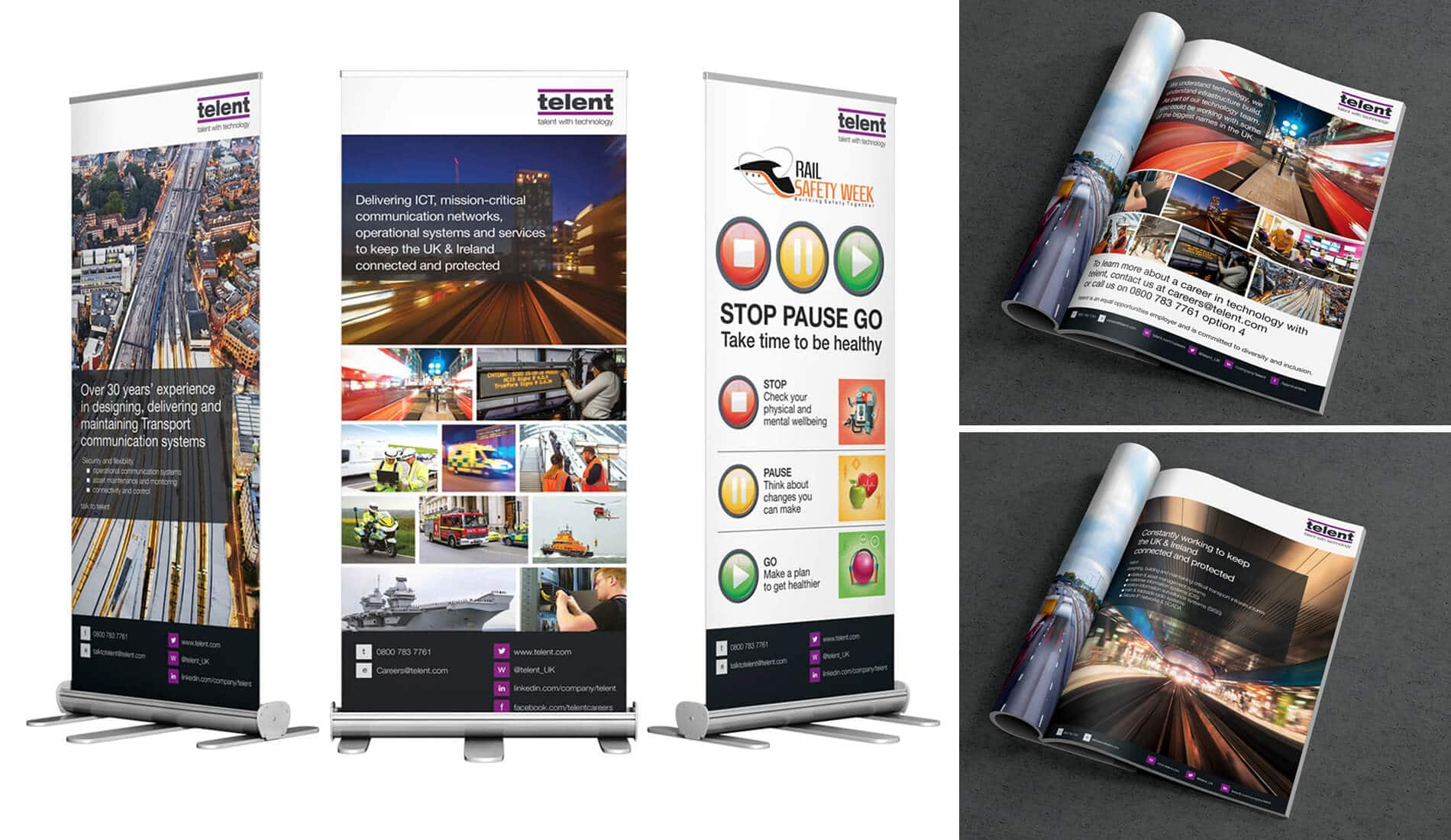 print design including magazine advert and three pull up banners