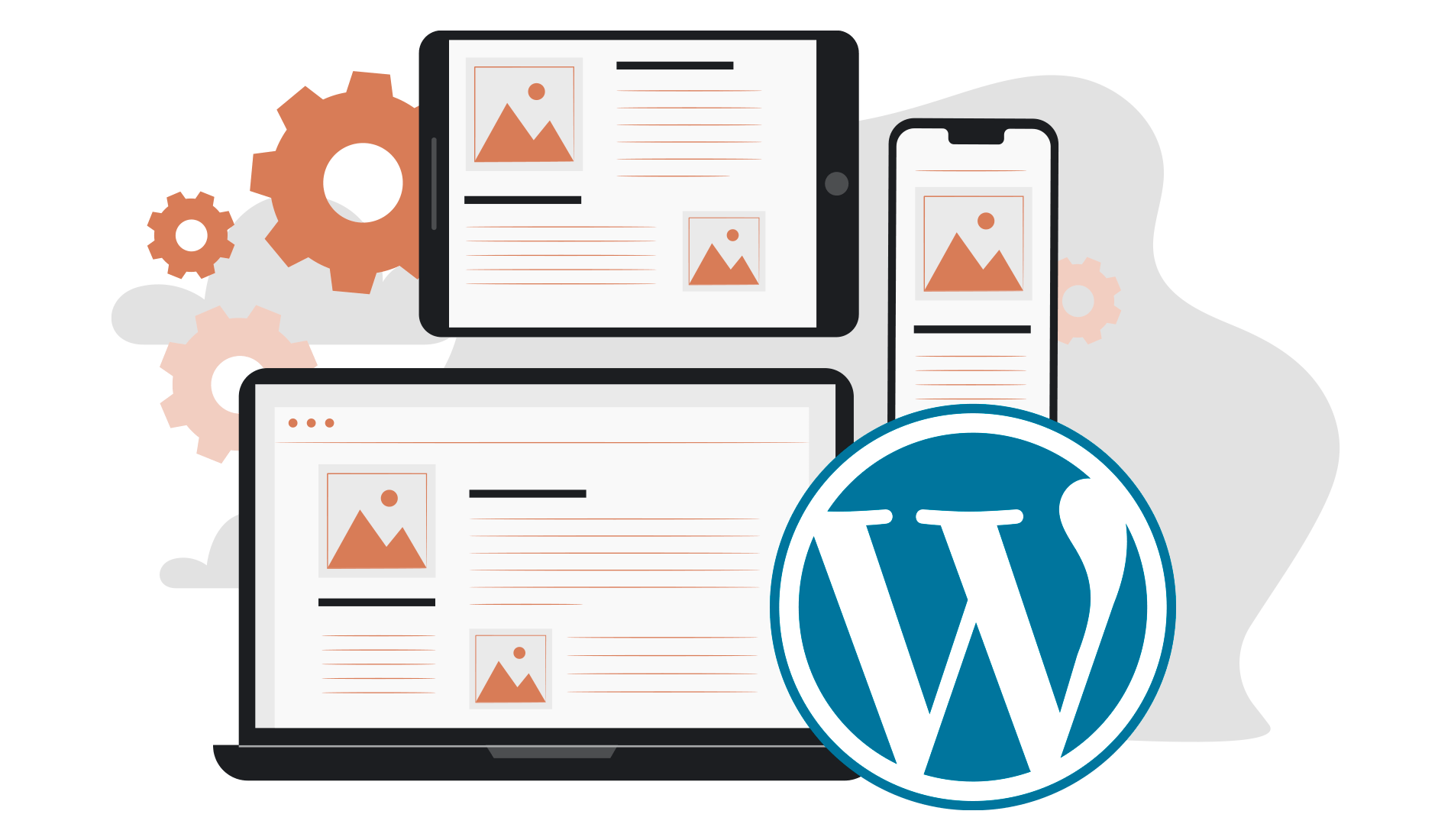 Wordpress logo with various digital devices illustrated devices