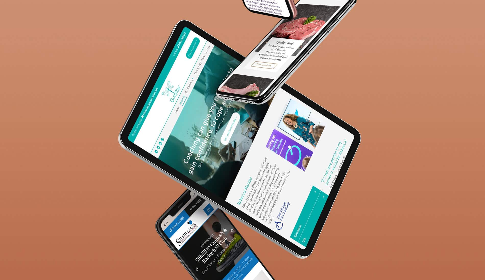 Responsive websites designed on digital devices