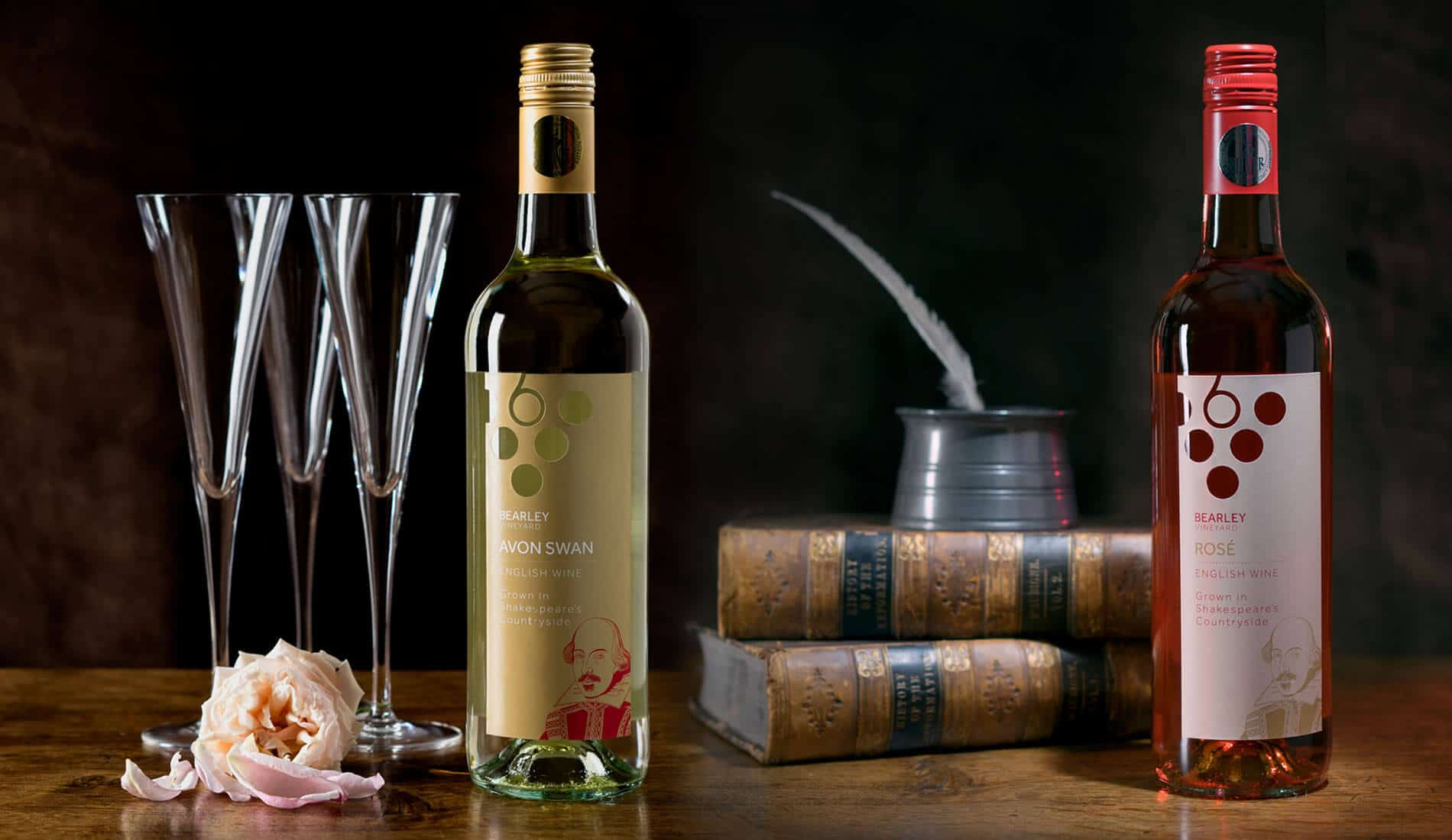 Bearley Wines packaging designs on actual bottles of wines created by creative touch design