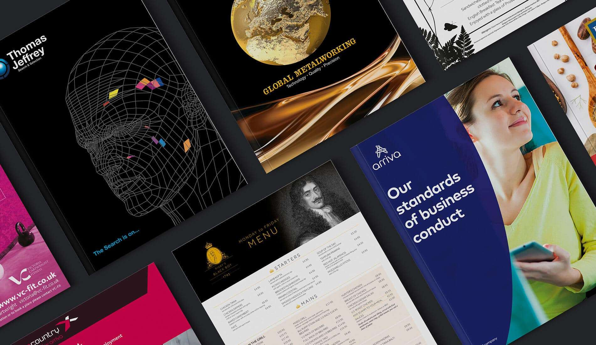 Our print design covers created for various clients on dark background
