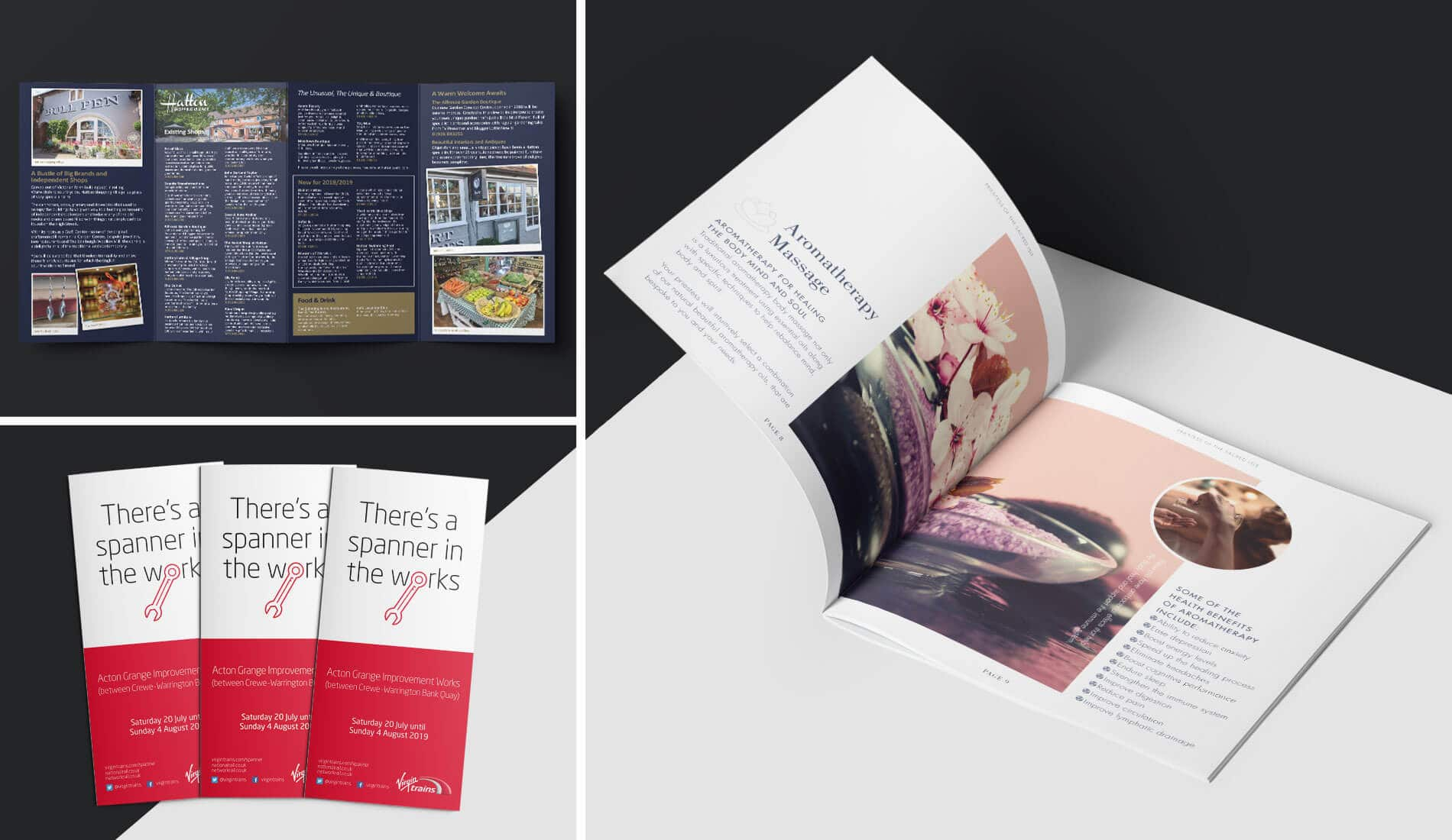 Print design artwork for various clients brochures and booklets