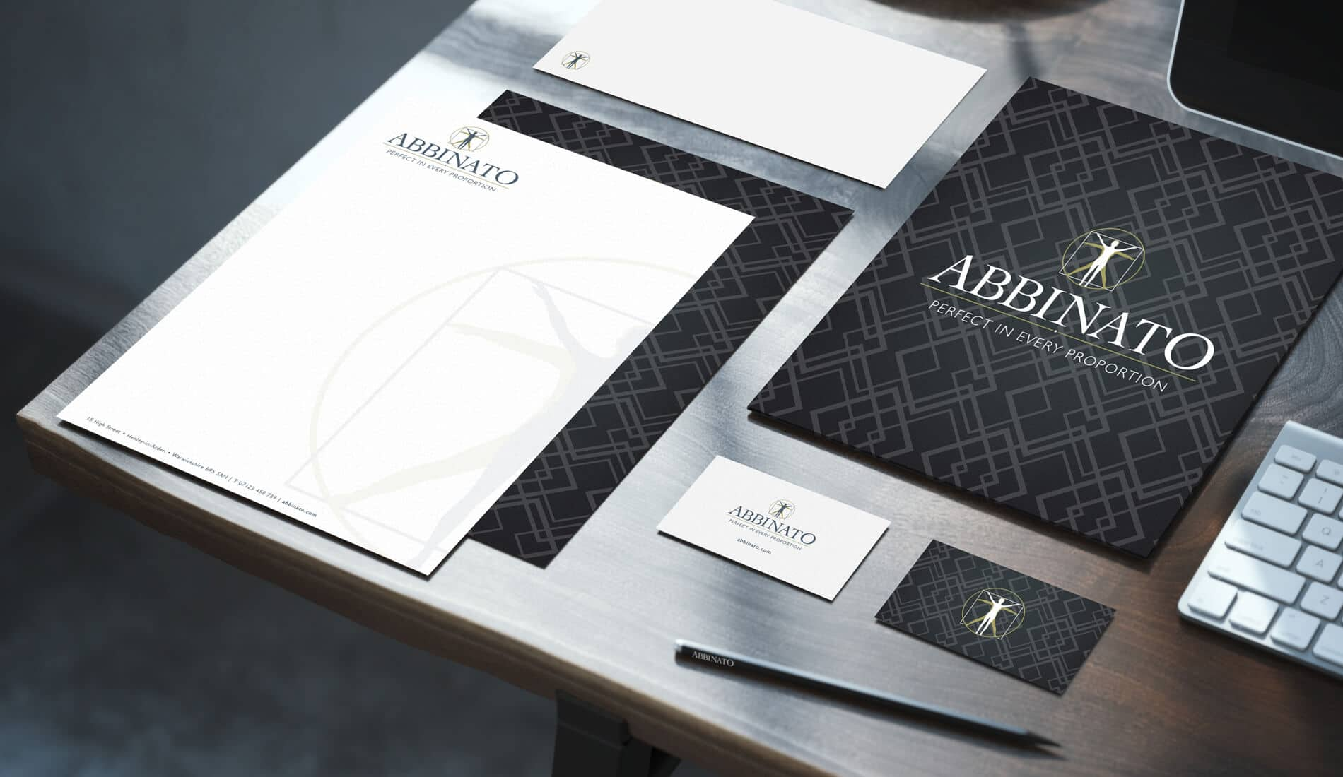 Abbinato branding and identity mocked up on stationary