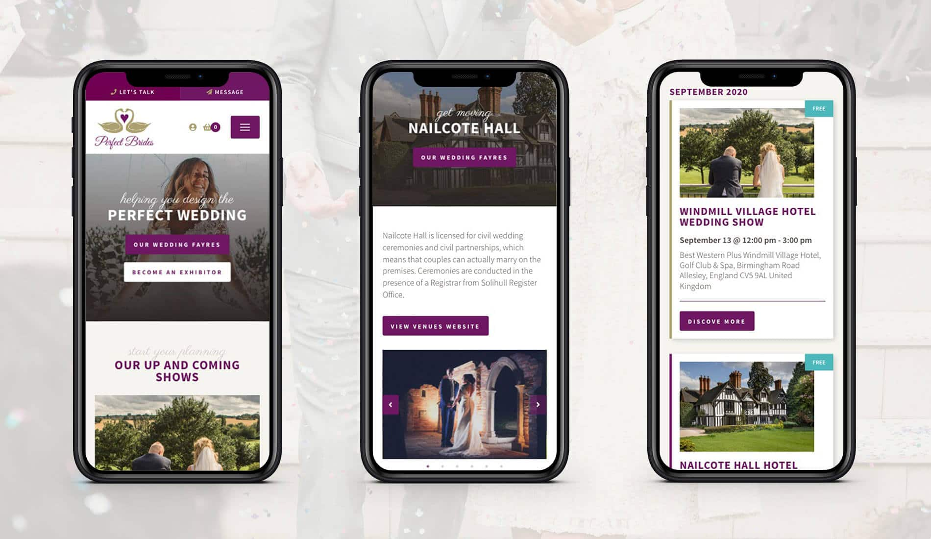 Perfect brides website responsive design across mobile screens