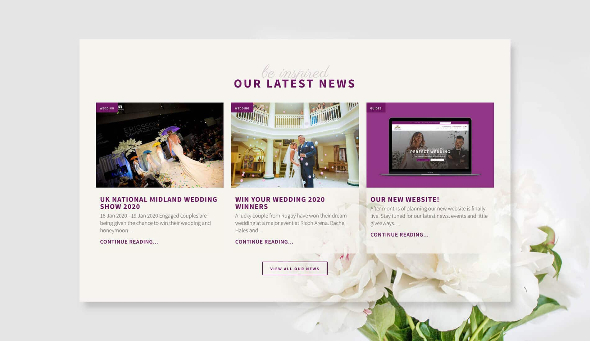 Perfect brides website with flower in background