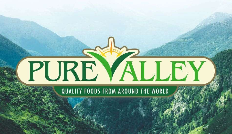 Brand Identity for Pure Valley. Logo overlaying on a scenic background