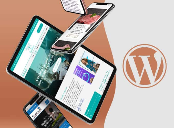 Business websites designed and developed on Wordpress mocked up on iphone and ipad