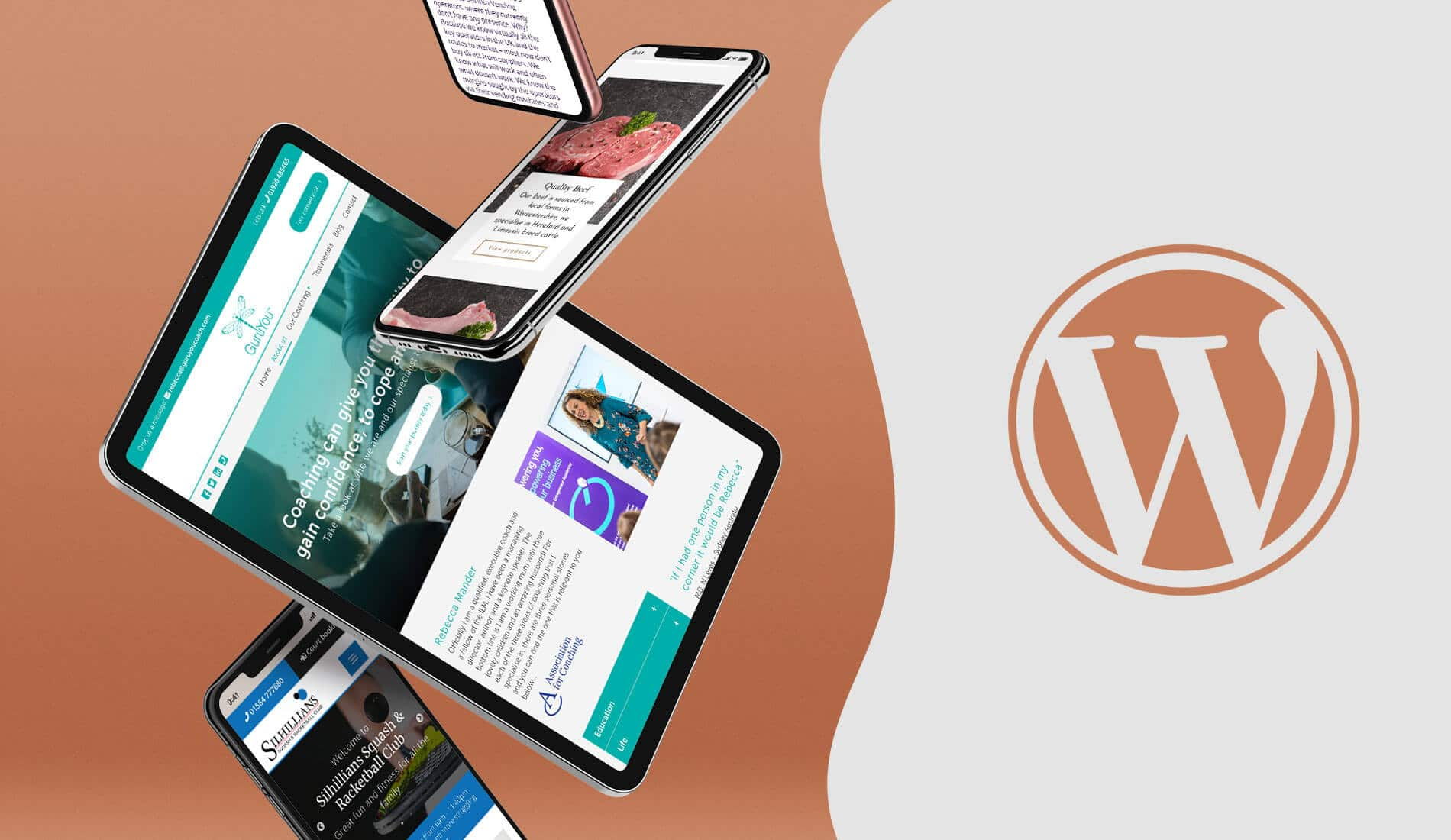 Wordpress for my business, websites mocked up on iphone and ipad