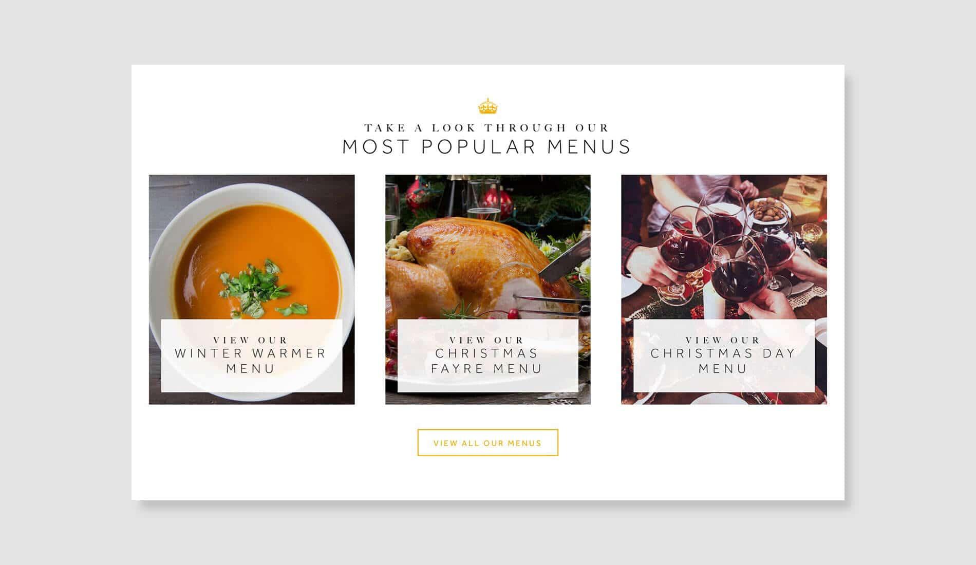 Blackboy website design menus on grey background