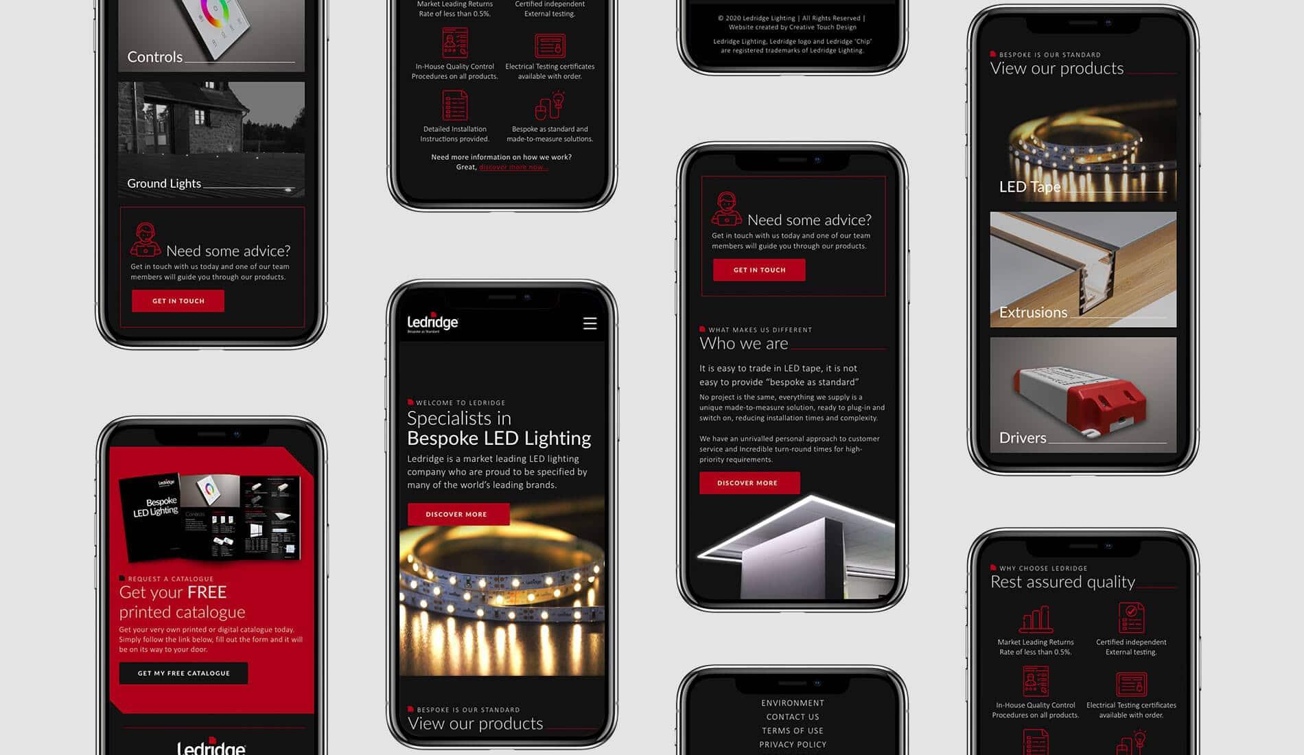 Ledridge website responsive design across mobile screens
