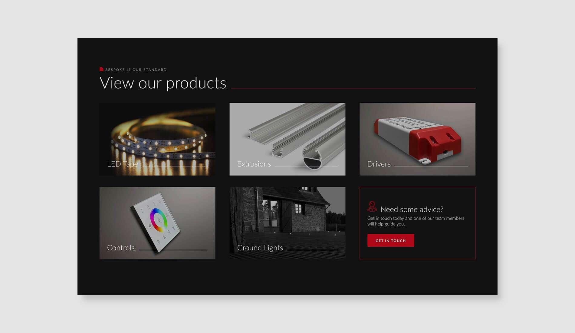 Ledridge product section design on flat background