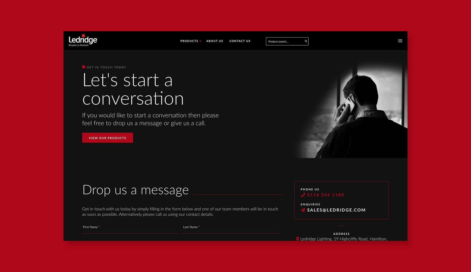 Ledridge contact page website design on flat red background