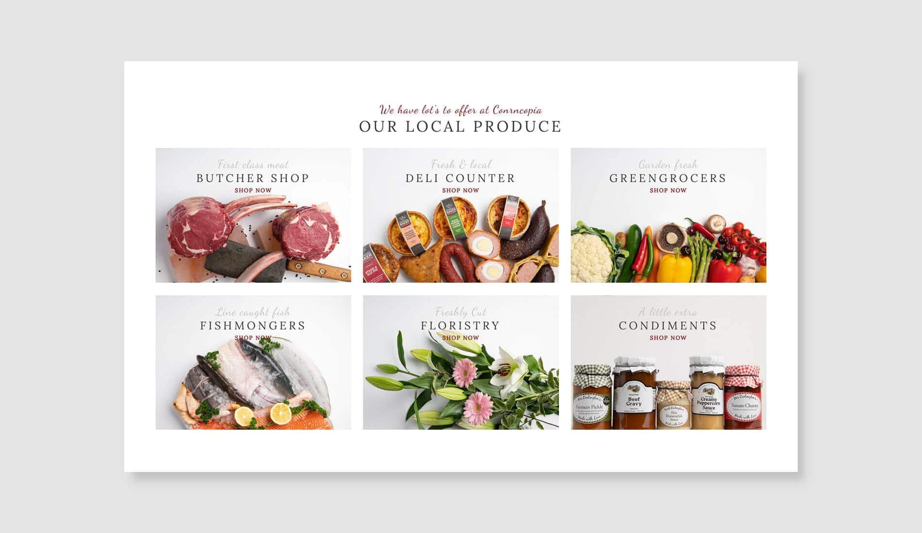 Cornucopia website design category sections on grey background