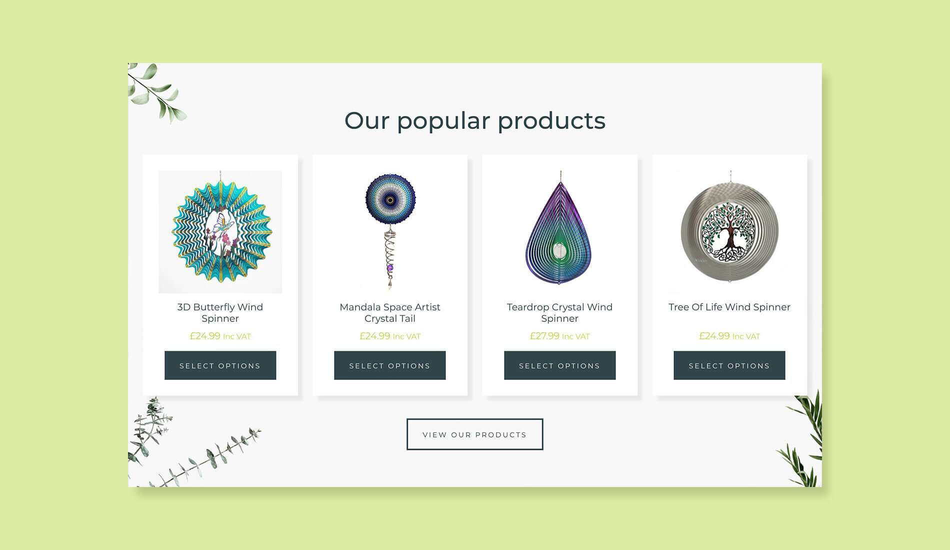 Spin Art website with light green background