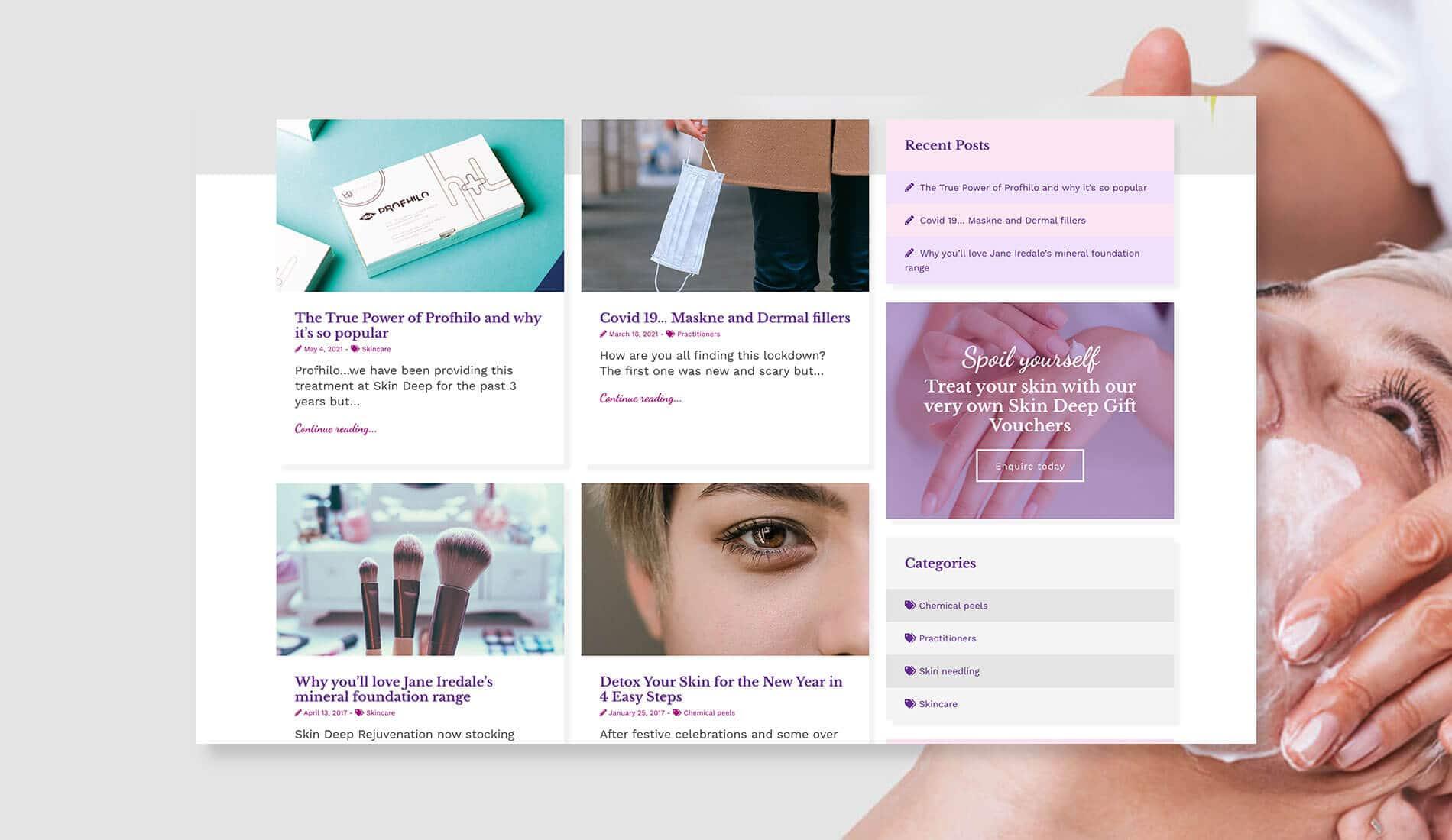Skin Deep Rejuvenation Website blog