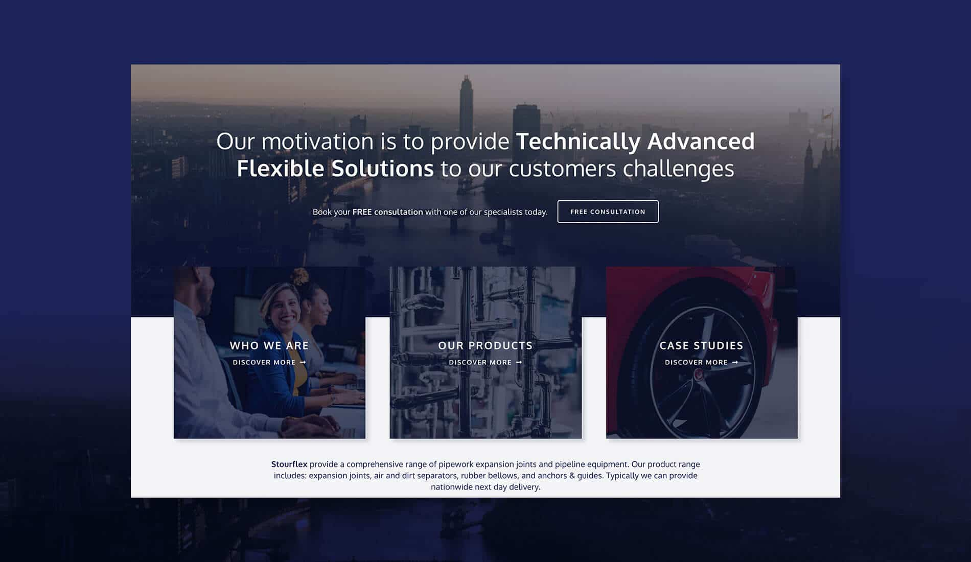 Stourflex website on coloured background